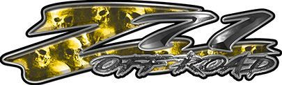 GMC or Chevy Z71 Off Road Decals with Yellow Skulls