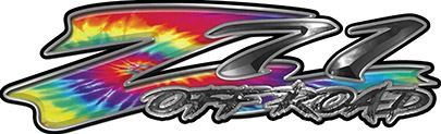GMC or Chevy Z71 Off Road Decals in Tie Dye Colors