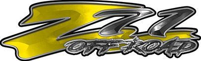 GMC or Chevy Z71 Off Road Decals in Yellow