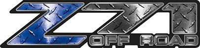 Classic Z71 Off Road Decals in Blue Diamond Plate