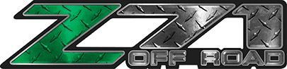 Classic Z71 Off Road Decals in Green Diamond Plate