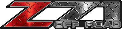 Classic Z71 Off Road Decals in Red Diamond Plate