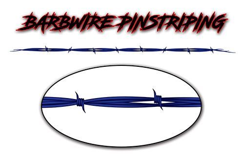 Barbed Wire Pin Stripe Decals in Blue