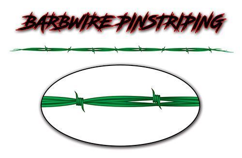 Barbed Wire Pin Stripe Decals in Green
