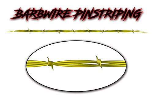 Barbed Wire Pin Stripe Decals in Yellow
