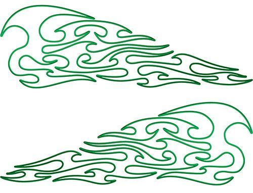 Pin Stripe Tribal Flame Decals in Green