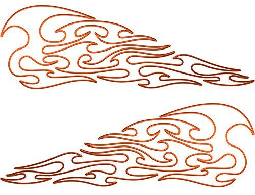 Pin Stripe Tribal Flame Decals in Orange