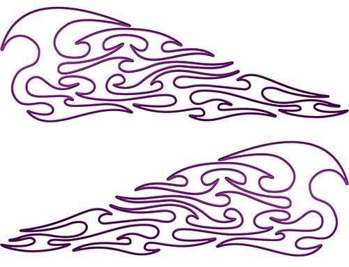 Pin Stripe Tribal Flame Decals in Purple