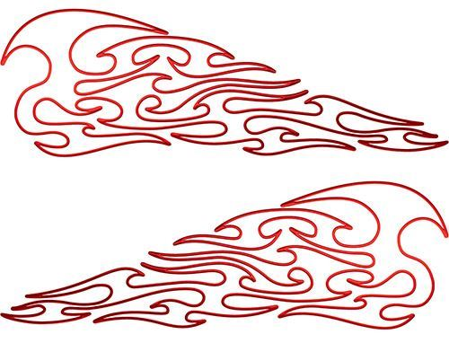 Pin Stripe Tribal Flame Decals in Red