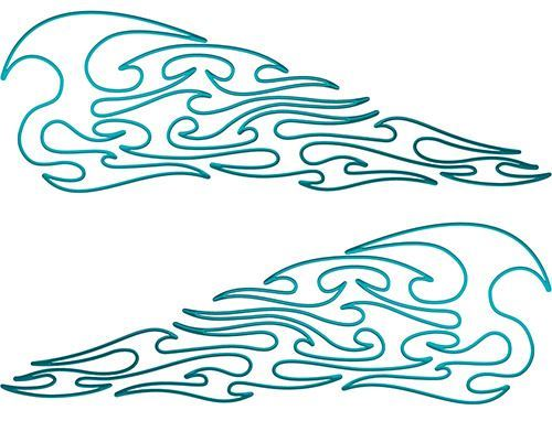Pin Stripe Tribal Flame Decals in Teal