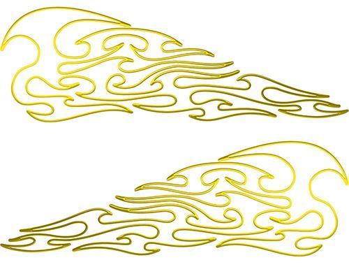 Pin Stripe Tribal Flame Decals in Yellow