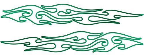 Thin & Long Tribal Flame Pin Stripe Decals in Green