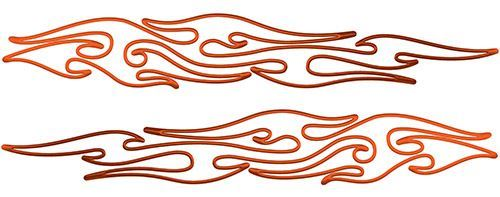 Thin & Long Tribal Flame Pin Stripe Decals in Orange