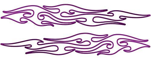 Thin & Long Tribal Flame Pin Stripe Decals in Purple