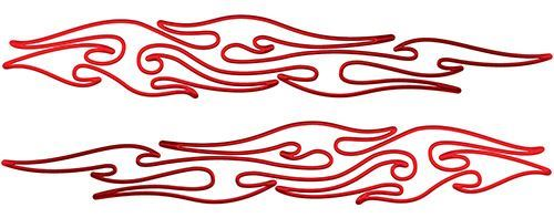 Thin & Long Tribal Flame Pin Stripe Decals in Red