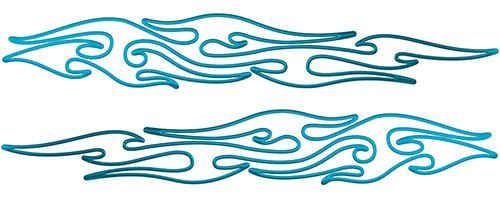 Thin & Long Tribal Flame Pin Stripe Decals in Teal