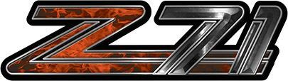 Classic GMC or Chevy Z-71 Decals in Orange Inferno Flames