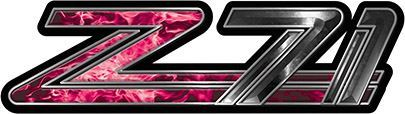 Classic GMC or Chevy Z-71 Decals in Pink Inferno Flames