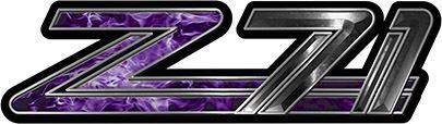Classic GMC or Chevy Z-71 Decals in Purple Inferno Flames