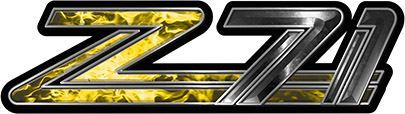 Classic GMC or Chevy Z-71 Decals in Yellow Inferno Flames