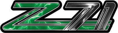 Classic GMC or Chevy Z-71 Decals in Green Lightning
