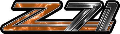 Classic GMC or Chevy Z-71 Decals in Orange Lightning