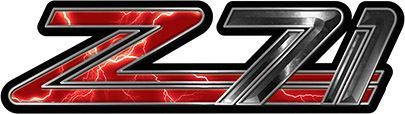 Classic GMC or Chevy Z-71 Decals in Red Lightning