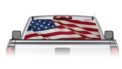 American Flag See Through Rear Window Decals