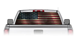 Grunge Look American Flag See Through Rear Window Decals