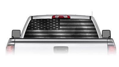 Black and White American Flag See Through Rear Window Decals
