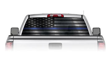 Thin Blue Line American Flag See Through Rear Window Decals