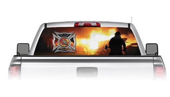 Firefighter Silhouette See Through Rear Window Decal