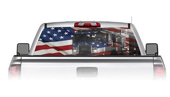 Fire Engine with American Flag See Through Rear Window Decal