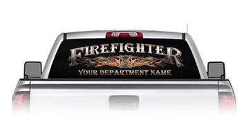 Personalized Firefighter See Through Rear Window Decal