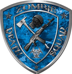 Zombie Death Squad Zombie Outbreak Decal in Blue Camouflage