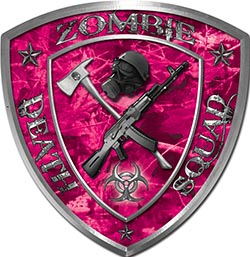 Zombie Death Squad Zombie Outbreak Decal in Pink Camouflage