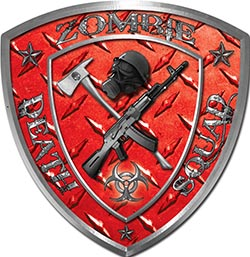 Zombie Death Squad Zombie Outbreak Decal in Red Diamond Plate