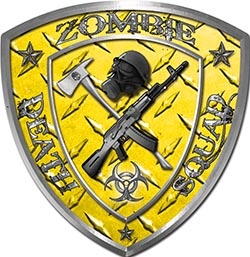 Zombie Death Squad Zombie Outbreak Decal in Yellow Diamond Plate