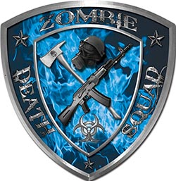 Zombie Death Squad Zombie Outbreak Decal in Blue Inferno Flames
