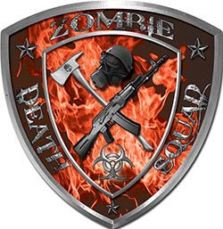 Zombie Death Squad Zombie Outbreak Decal in Orange Inferno Flames