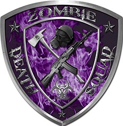 Zombie Death Squad Zombie Outbreak Decal in Purple Inferno Flames
