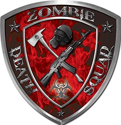 Zombie Death Squad Zombie Outbreak Decal in Red Inferno Flames