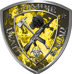 Zombie Death Squad Zombie Outbreak Decal in Yellow Inferno Flames