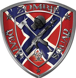 Zombie Death Squad Zombie Outbreak Decal with Confederate Rebel Flag