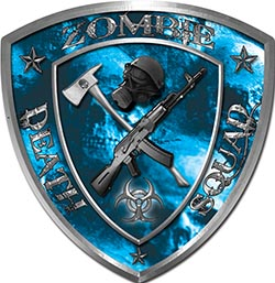 Zombie Death Squad Zombie Outbreak Decal with Blue Evil Zombie Skulls