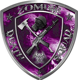 Zombie Death Squad Zombie Outbreak Decal with Purple Evil Zombie Skulls