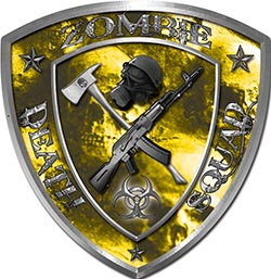 Zombie Death Squad Zombie Outbreak Decal with Yellow Evil Zombie Skulls