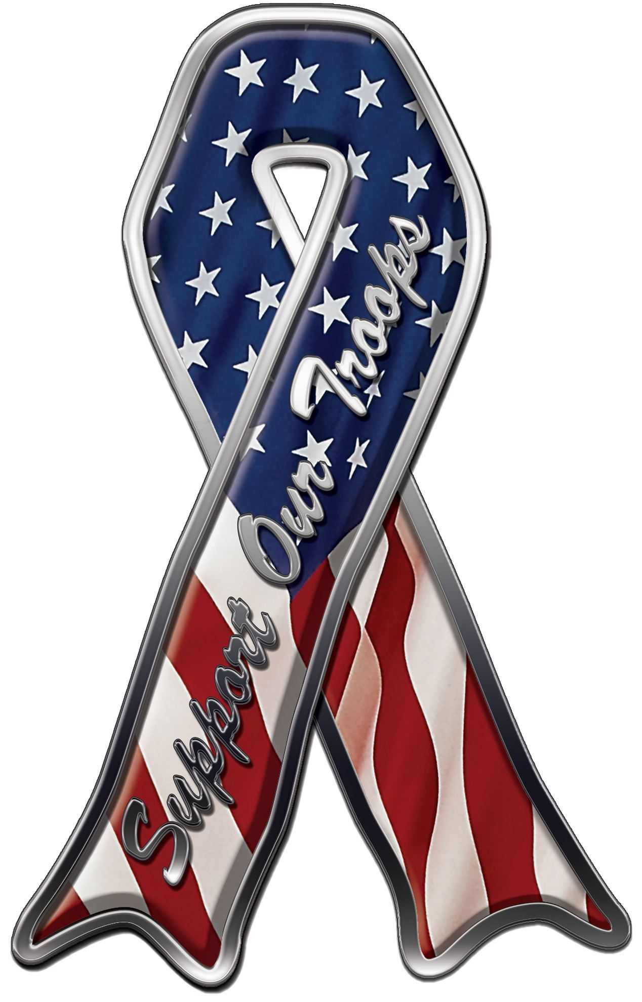 Support Our Troops Ribbon Decals