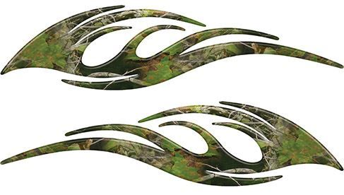 Sleek Flame Decals in Camouflage