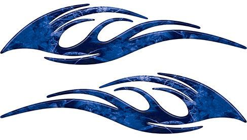 Sleek Flame Decals in Blue Camouflage